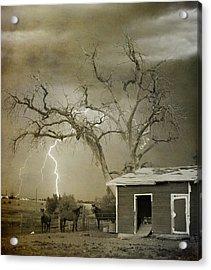 Country Horses Lightning Storm Ne Boulder Co 66v Bw Art Acrylic Print by James BO  Insogna