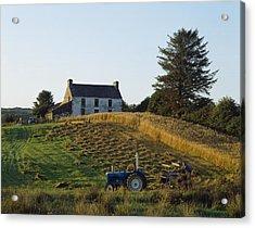 County Cork, Ireland Farmer On Tractor Acrylic Print by Ken Welsh
