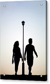 Couple Exercise While Walking At Sunset Acrylic Print by Virginia Star