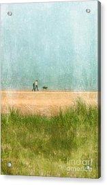 Couple On Beach With Dog Acrylic Print by Jill Battaglia