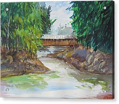 Covered Bridge Acrylic Print by Heidi Patricio-Nadon