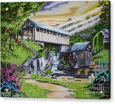Covered Bridge Acrylic Print by Robert Thornton