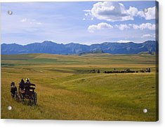 Cowboys And Wagon On A Cattle Drive Acrylic Print by Carson Ganci