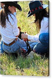 Cowgirls At Work Acrylic Print by Elizabeth Hart