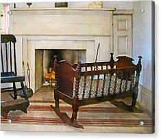 Cradle Near Fireplace Acrylic Print by Susan Savad