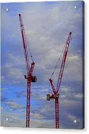 Buildings Acrylic Print featuring the photograph Crane Couple by Roberto Alamino
