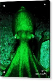 Creatures Of The Deep - The Octopus - V4 - Green Acrylic Print by Wingsdomain Art and Photography