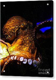 Creatures Of The Deep - The Octopus - V6 - Gold Acrylic Print by Wingsdomain Art and Photography