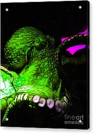 Creatures Of The Deep - The Octopus - V6 - Green Acrylic Print by Wingsdomain Art and Photography