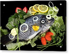 Crucian Fish With Vegetable Acrylic Print by Paul Ge