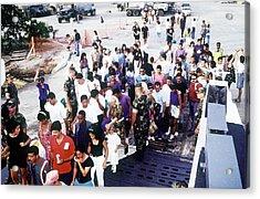 Cuban Migrants At Guantanamo Bay Naval Acrylic Print by Everett