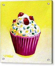 Cupcake With Cherries Acrylic Print by John  Nolan