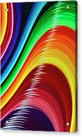 Curves Of Colored Paper Acrylic Print by Image by Catherine MacBride