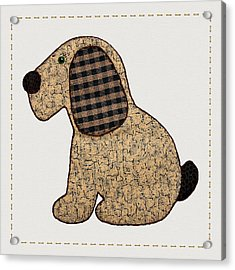 Cute Country Style Gingham Dog Acrylic Print by Tracie Kaska