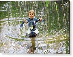 Cute Tiny Boy Riding A Duck Acrylic Print by Jaroslaw Grudzinski