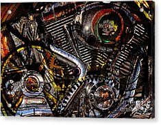Cyberpunk Harley-davidson Modified In Abstract . 7d12658 Acrylic Print by Wingsdomain Art and Photography