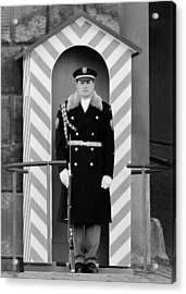 Czech Soldier On Guard At Prague Castle Acrylic Print by Christine Till