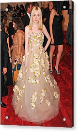 Dakota Fanning Wearing A Dress Acrylic Print by Everett