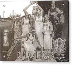 Dallas Mavericks Champs Acrylic Print by Teriginal Washington