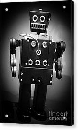 Dark Metal Robot Acrylic Print by Edward Fielding