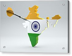 Dart Arrow In A Shape And Ensign Of India Acrylic Print by Dieter Spannknebel