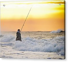 Dawn Fishing Acrylic Print by Vicki Jauron