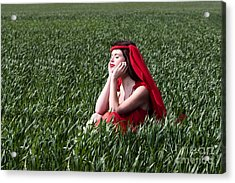 Day Dreams Woman In Red Series Acrylic Print by Cindy Singleton