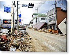 Debris Rubble And Damaged Vehicles Line Acrylic Print by Everett
