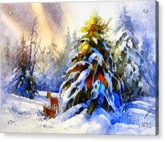 Deer In The Snowy Woods Acrylic Print by Elizabeth Coats