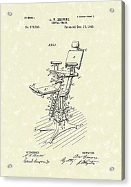Dental Chair 1896 Patent Art Acrylic Print by Prior Art Design