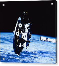 Deployment Of A Satellite In Space Acrylic Print by Stockbyte