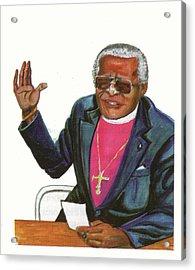 Desmond Tutu Acrylic Print by Emmanuel Baliyanga