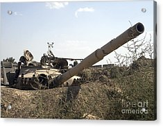 Destroyed Iraqi Tanks Near Camp Slayer Acrylic Print by Terry Moore
