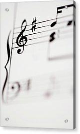 Detail Of Sheet Music Acrylic Print by Junior Gonzalez