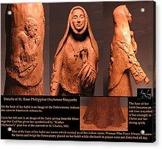 Details Of Symbols On Saint Rose Philippine Duchesne Sculpture. Acrylic Print by Adam Long