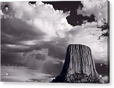 Devils Tower Wyoming Bw Acrylic Print by Steve Gadomski