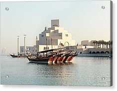 Dhows And Museum Acrylic Print by Paul Cowan