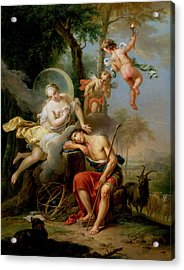 Diana And Endymion Acrylic Print by Frans Christoph Janneck