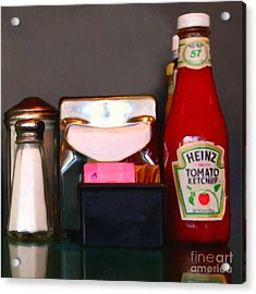 Diner Table Condiments And Other Items - 5d18035- Painterly Acrylic Print by Wingsdomain Art and Photography