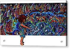 Distressed Fish Acrylic Print by Karen Elzinga