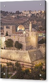 Dome Of The Rock With Tower Of David Acrylic Print by Richard Nowitz