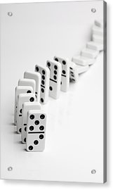 Dominoes Falling Over In A Chain Reaction Acrylic Print by Larry Washburn