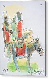 Donkey Lady Acrylic Print by Carey Chen