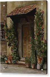 Door With Roses Acrylic Print by Sam Sidders