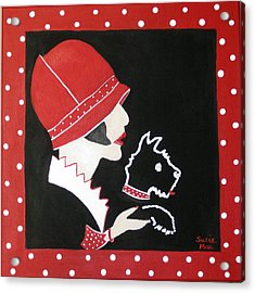 Dottie With The Scottie 1 Acrylic Print by Susan McLean Gray