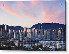 Downtown Vancouver Skyline At Dusk Acrylic Print by Jeremy Woodhouse