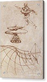 Drawings By Leonardo Divinci Acrylic Print by Science Source