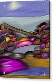 Driftwood Resting At Night Acrylic Print by Paula Brown