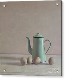 Duck Eggs And Coffee Pot Acrylic Print by Paul Grand