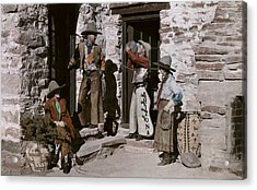 Dude Ranch Guests Pretend To Be Cowboys Acrylic Print by Clifton R. Adams